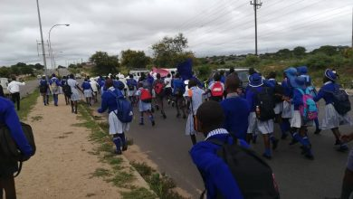 Photo of Njube learners demonstrate against teachers' poor working conditions